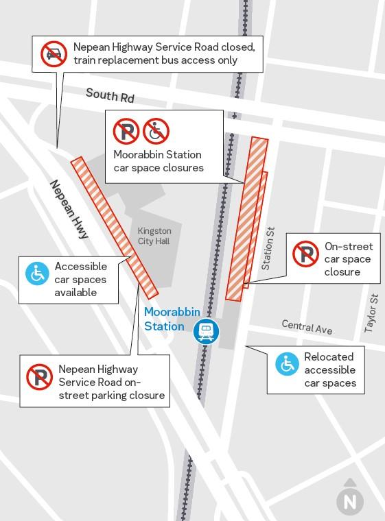 Moorabbin Station car park closures - click to view larger version of map